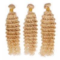 Wholesale Blonde Deep Wave Remy Extensions - Remy Human Hair Weave Deep Wave Brazilian Virgin Hair Bundles 613 Blonde Knots Free Best Quality Hair Extension Queenlike 9A Diamond Grade