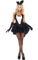 traje de conejo negro al por mayor-Sexy Bunny Dress Ladies Rabbit Halloween Dovetail Dress Fantasía Mago Cosplay Uniformes de camarera negros Traje de carnaval