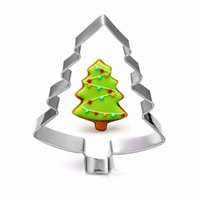 Wholesale Christmas Tree Jelly Mould - Stainless steel Mold Christmas Tree Shaped Biscuit Tools Cookie Cake Mold Jelly Pastry Baking Cutter Mould Tool WA1564