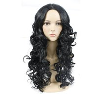 longo cabelo cacheado preto meninas venda por atacado-Meninas Moda Celebridade Perucas Centro Parting Loose Wave Big Curly Cabelo Comprido Preto