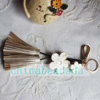 Wholesale Girl Accessories Bulk - Factory Bulk Wholesale Girls' Bag Wallet Accessories Cheap Multi-colors 220MM Handmade Alloy Metal flower Leather key chains