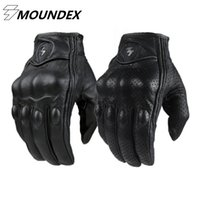 Wholesale men s brown leather gloves - Wholesale- Motorcycle Gloves Goatskin Leather Real Genuine Cycling All Season Moto Glove Men Racing Motorbike Guantes Luvas