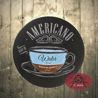 Wholesale Wholesale Man Cave - T-Ray Man cave ideas AMERICANO 12 Inch Embossed Metal Nostalgia Circular decoration murale A-23 170314#