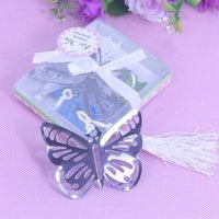 Wholesale Metal Bookmark Butterfly - Butterfly Bookmarks Metal With Tassels Stationery Gifts Wedding Favors Stainless Steel Packed In Gift Box wa3205