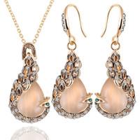 Wholesale Dinner Gift Set - Austria Rehinstore Opal Alloy Earrings & Necklace Set Peacock Drop Shape Pendant Earrings Jewelry Sets Women's Wedding Dinner Party Gifts