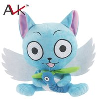 Wholesale Happy Birthday Videos - Japanese Anime Cartoon Fairy Tail Happy with fish Plush Toy soft stuffed Doll Figure Toy 23cm for kids Birthday Gift