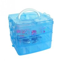 Wholesale Box Cabinets - New 3 Layers Detachable DIY Plastic Storage Box Desktop Transparent Jewelry Organizer Holder Cabinet For Small Objects