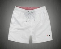 Wholesale L Color Wholesale - 6pcs  summer beach men shorts solid color cotton casual loose elastic waist shorts Swimwear Bermuda Male Letter Surf Life Men Swim clothing