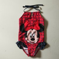 Wholesale Minnie Mouse Swim Suits - 1-6Y Girls Minnie Swimsuit red mouse banador chica swimming clothes kids swimwear princess swimming suit maillot de bain la free shipping