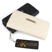 Wholesale Kardashian Wholesale - Fashion KK Wallet Long Design Women PU Leather Kardashian Kollection High Grade Clutch Bag Zipper Coin Purse Handbag