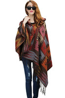 Wholesale Blue Aztec - Women Winter Aztec Hooded Tassel Ethnic Boho Jacquard Button Poncho Cape Acrylic Wool Shawl 10pcs lot