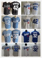 Wholesale 1955 Jackie Robinson Brooklyn Dodgers Cream Throwback Jersey Los Angeles Dodgers Sandy Koufax Jersey Baby Blue Retro Baseball Jerseys