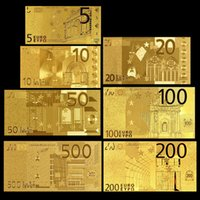 7pcs Euros 24K Gold Foil Collections Notas 500/200/100/5/20/10/5 Special Wedding Paper Money comemorativo Holiday Decoração Artes Presentes