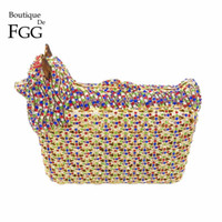 Wholesale Dog Shaped Handbags - Wholesale- Animal Shape Luxury Party Crystal Bags Women Diamond Evening Clutches Purse Wedding Prom Clutch Bag Ladies Small Dog Handbags