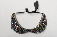 Wholesale Fabric Bibs - 2017 new fashion bib collar necklace exaggrated women accessaries pendant necklace bead acrylic fake detachable jewelry necklace
