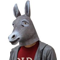 vestido de animal adulto al por mayor-Al por mayor-Halloween Mágico Creepy Adulto Cabeza de burro Látex de goma Máscara de burro Animal Máscara de cabeza completa Disfraces de disfraces Juguetes de utilería