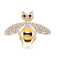 Wholesale Mexican Paint - Fashion Women Handmade Painted Alloy Cartoon Bee Brooches Pin Gold Plated Painted Enamal Corsage Jewelry Accessory