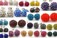 Wholesale Disco Ball 925 - Genuine Crystal Disco Ball Lady 925 Silver Shamballa Stud 18K Earring 10mm for Girls Xmas Gift Decoration