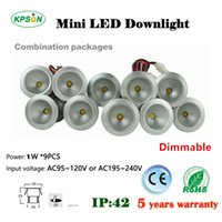 Wholesale Small Ceiling Spotlights - 1W * 9 mini LED mini spotlight 60 120 degree mini ceiling lamp 25mm cut out display cabinet downlight small ceiling lamp110V 220V Dim driver