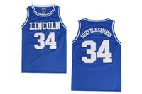 Wholesale Outdoor Sportwear - #34 Jesus Shuttlesworth Lincoln Basketball Jersey He Got Game All Stitched Blue White Basketball Shirts Adult Outdoor Mesh Sportwear