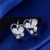 Wholesale Gold Butterfly Earings - Wholesale- H:HYDE Hot Silver Color Cute Heart Butterfly Crystal Earings for Women CZ Fine Fashion Cute Hoop Earrings Jewellery