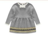 Wholesale Little Girls Spring Sweater - Fashion Spring Winter Newborn Baby Girls Sweater Princess Dress Infant Knit Gress Kids Little Girl Dress
