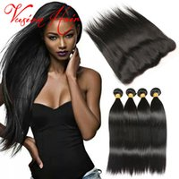 Nouveaux arrivages 4 lots Straight Hair Malaysian With Lace Frontal Natural Black Cheveux humains Weave Bulk Cheap Hair Weaves Extensions Sale