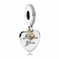 Wholesale Cross Pendants Beads - Authentic 925 Sterling Silver Bead Charm Gold Love Heart & Love You Forever Pendant Beads Fit Women Pandora Bracelet Diy Jewelry HK3720