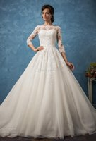 Wholesale Ball Gown Embellished Appliques - ball gown vintage wedding dresses 2017 amelia sposa bridal 3 4 sleeves illusion bateau neckline semi sweetheart heavily embellished bodice