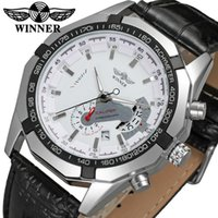 Wholesale Winner Skeleton Silver Automatic - Classic Luxury WINNER Mens Transparent Automatic Skeleton Mechanical Watches Men Brand Military Leather Relogio Masculino Wholesale