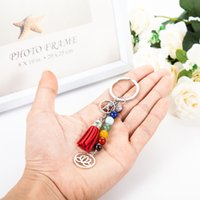 Wholesale Key Ring Strings - Cute key rings Different Colors Stone Beads String Silver rainbow Keychain with Lotous and Dancer Metal Charms Red Tassels key ring