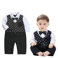 Wholesale Down Coat Romper - Newborn Baby Boys Autumn Clothing Romper One-Pieces Long Sleeve False Two-Pieces Coat Bow Stripe Tie Romper