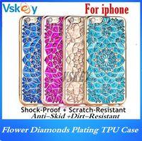 Wholesale Soft 3d Flower - Luxury 3D Flower Bling Diamonds Plating TPU Case For Iphone 7 Plus Rhinestone Diamond Soft Back Cover For iphone 6 6s plus