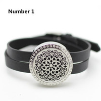 Wholesale Crystal Flower Twist - New arrival fashion leather braclet oil diffuser locket bracelet silver twist 316L stainless steel crystals aromatherapy locket bracelet
