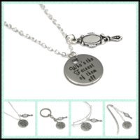 Wholesale mirror necklaces - 12pcs lot Snow white quote Who's the Fairest of the All necklace bracelet keyring bookmark cute mirror shaped charm necklace
