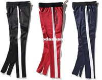 Wholesale 2017 New side zipper pants hiphop Fear Of God Fashion urban clothing red bottoms justin bieber FOG jogger pants Black red blue