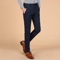 Wholesale Mens High Fashion Wear - Wholesale- 2016 New Arrival High Fashion Work Wear Formal Black Pants Casual Mens Business Trousers 100% Cotton