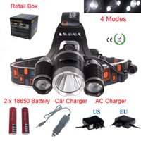 Wholesale Au Eu Power - 8000 Lumens Headlight 3 LED Cree XM-L T6+2R5 Head Lamp High Power LED Headlamp +2*18650 battery+EU US AU UK Charger+car charger
