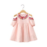 Wholesale Girls Vintage Style Dress - Vintage Baby Girls Dress Three Quarter Summer Girls Clothing Pink Princess Birthday Western Girls Boutique Outfit Printed Dress