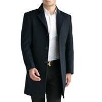 Wholesale Tailored Jackets - Wholesale- Tailor-made Men's Wool Coats & Jackets Winter Cashmere Jacket Man Long Section Business Style Overcoat Turn-down Collar Casual