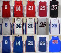 Wholesale Gold S 14 - 2017 Embiid Basketball Jerseys 25 Ben Simmons 21 Joel Embiid 8 Jahlil Okafor 14 Sergio Rodriguez Blue Stitched Shirts Basketball Jersey