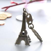 Wholesale antique square pendants resale online - Zakka Zinc Alloy Vintage Eiffel Tower Keychain France Pairs Letter Tower pendant key ring gifts Fashion Bronze Color