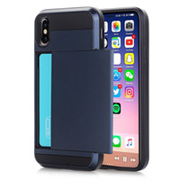 Wholesale Plastic Cases For Business Cards - Business Card Holder Case for Apple iphone X 8 6 6S 7 Plus   Samsung Galaxy Note8 S8 Plus Hybrid Impact Shockproof Hard Case Cover