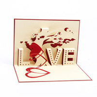 origami 3d pop up presente venda por atacado-Nova árvore de amor artesanal kirigami origami 3d pop up cartões para festa de aniversário de casamento presente