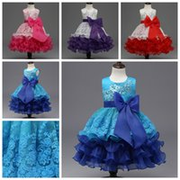 Wholesale Girls Chiffon Ruffle Dress - 2017 summer girls party dress sleeveless tutu dresses kids gown baby prom dress with big bow and sequins baby girl's lace dress