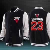 Wholesale Bulls Coat - New Hot Sale Basketball Michael Chicago Jordan Bulls Mens Pure Cotton Baseball Jacket Casual Sweatshirt Sports Coat Baseball Uniform