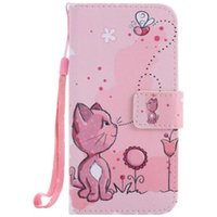 Wholesale S3 Case Painting - Painted Cat bee flip leather case for Samsung Galaxy S3 S4 S5 S6 S7 edge card cover Card slot wallet with kickstand phone stand