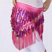 Wholesale Tassel Waist Scarves - New Arrival Belly Dance Hip Scarf Women Dancing Waist Chain Tassel Sequins Skirt Wrap Belt Bellydance Accessories UA0220
