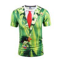 laço verde da camisa dos homens venda por atacado-Camisas dos homens t para homens T-shirt camisas do desenhista 3d gravata sapo verde impressão Falso duas peças de manga curta BL-035