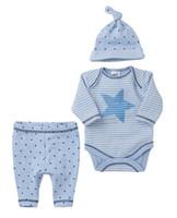 Wholesale Boy Cothes - Wholesale- 2017 autumn style baby boy cothes Long sleeve 3pcs suit:hat + romper +pants baby girl clothing set newborn toddler